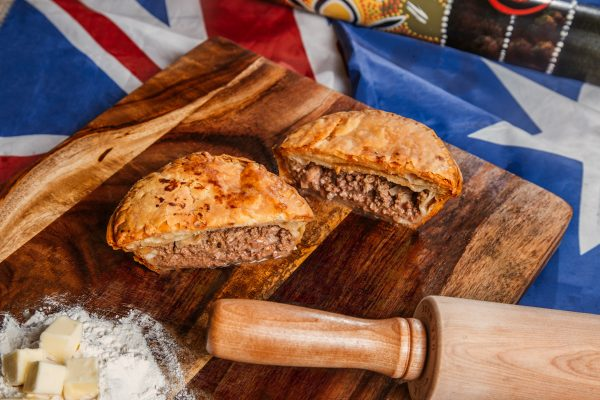 Australian pie beef, bacon & cheddar